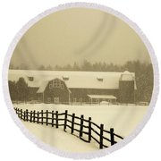Barn Lake Placid N Y Round Beach Towel