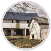 Barn Near Utica Mills Covered Bridge Round Beach Towel