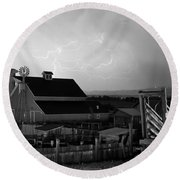 Barn On The Farm And Lightning Thunderstorm Bw Round Beach Towel by James BO  Insogna