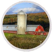 Barn On The River Rd. Round Beach Towel