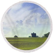 Barn On Top Of The Hill Round Beach Towel