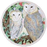 Barn Owls Round Beach Towel