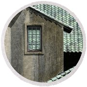 Barn Roofs At The Crane Estate Round Beach Towel