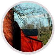 Barn Shadows Round Beach Towel
