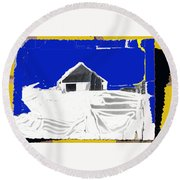 Barn Snow Storm Rc Guss Photo 1951 Collage St. Paul Park Minnesota Color Drawing Added Round Beach Towel