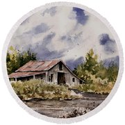 Barn Under Puffy Clouds Round Beach Towel
