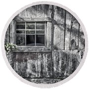 Barn Window Round Beach Towel