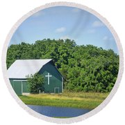Barn With A Cross Round Beach Towel by Cricket Hackmann