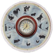 Barn Yard Clock Round Beach Towel