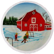 Barn Yard Hockey Round Beach Towel