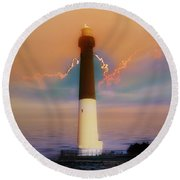 Barnegat Lighthouse In New Jersey Round Beach Towel