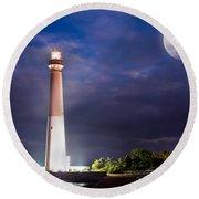 Barnegat Lighthouse Super Moon Round Beach Towel