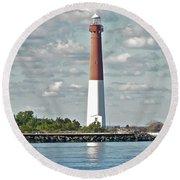 Barngat Lighthouse - Long Beach Island Nj Round Beach Towel