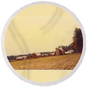 Barns And Landscape Round Beach Towel