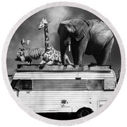 Barnum And Bailey Goes On A Road Trip 5d22705 Vertical Black And White Round Beach Towel
