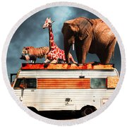 Barnum And Baileys Fabulous Road Trip Vacation Across The Usa Circa 2013 5d22705 With Text Round Beach Towel