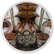 Baroque Grand Organ In Oude Kerk Round Beach Towel
