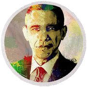 Barrack Obama Round Beach Towel