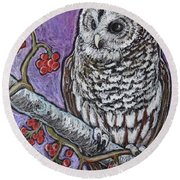 Barred Owl And Berries Round Beach Towel