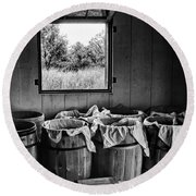 Barrels Of Beans - Bw Round Beach Towel