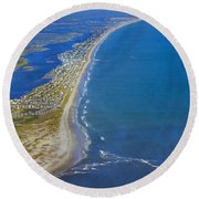 Barrier Island Aerial Round Beach Towel