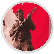 Barry Sadler Machine Gun Authentic Ww2 Africa Korps Hat Camouflage Clothes Collage Tucson 1971-2012 Round Beach Towel