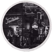 Bars On Broadway Nashville Round Beach Towel by Dan Sproul