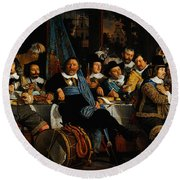 Bartholomeus Van Der Helst Banquet Of The Amsterdam Civic Guard In Celebration Of The Peace Of Munst Round Beach Towel
