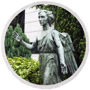 Barzaghi Memorial Side View II Detail Monumental Cemetery Round Beach Towel