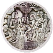 Bas-reliefs Of Khmer Daily Activities In The Bayon In Angkor Thom-cambodia  Round Beach Towel
