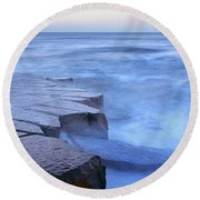 Basalt Rock, Berwick Upon Tweed Round Beach Towel
