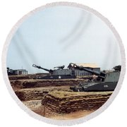 Base Camp Artillery Guns Self-propelled Howitzer M109 Camp Enari Central Highlands Vietnam 1969 Round Beach Towel