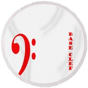 Base Clef - Music Symbol - Red Round Beach Towel