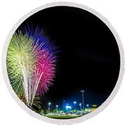 Baseball And Fireworks Round Beach Towel