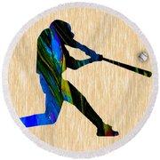 Baseball Art Round Beach Towel
