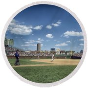 Baseball At Wrigley Field In The 1990s Round Beach Towel