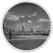 Baseball At Wrigley In The 1990s Round Beach Towel