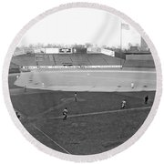 Baseball At Yankee Stadium Round Beach Towel by Underwood Archives
