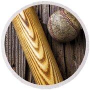 Baseball Bat And Ball Round Beach Towel