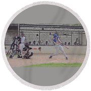 Baseball Batter Contact Digital Art Round Beach Towel by Thomas Woolworth