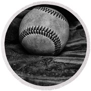 Baseball Broken In Black And White Round Beach Towel