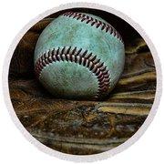 Baseball Broken In Round Beach Towel by Paul Ward