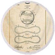 Baseball By John E. Maynard - Vintage Patent Document Round Beach Towel