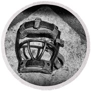 Baseball Catchers Mask Vintage In Black And White Round Beach Towel