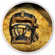 Baseball Catchers Mask Vintage  Round Beach Towel