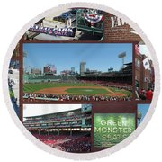 Baseball Collage Round Beach Towel