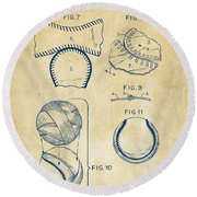 Baseball Construction Patent 2 - Vintage Round Beach Towel