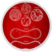 Baseball Construction Patent - Red Round Beach Towel by Nikki Marie Smith
