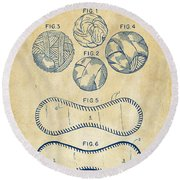 Baseball Construction Patent - Vintage Round Beach Towel