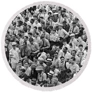 Baseball Fans In The Bleachers At Yankee Stadium. Round Beach Towel by Underwood Archives